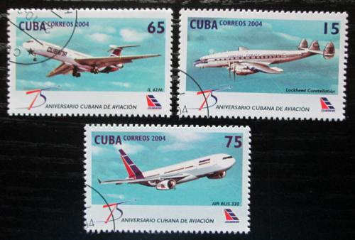 Poštovní známky Kuba 2004 Letadla Mi# 4632-34