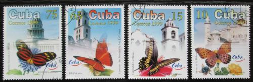 Poštovní známky Kuba 1999 Motýli a stavby Mi# 4228-31