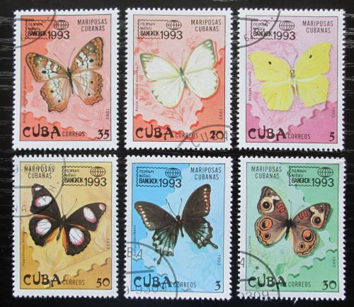 Poštovní známky Kuba 1993 Motýli Mi# 3699-3704