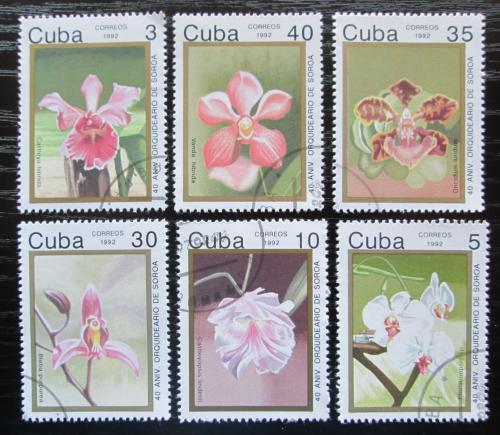 Poštovní známky Kuba 1992 Orchideje Mi# 3583-88