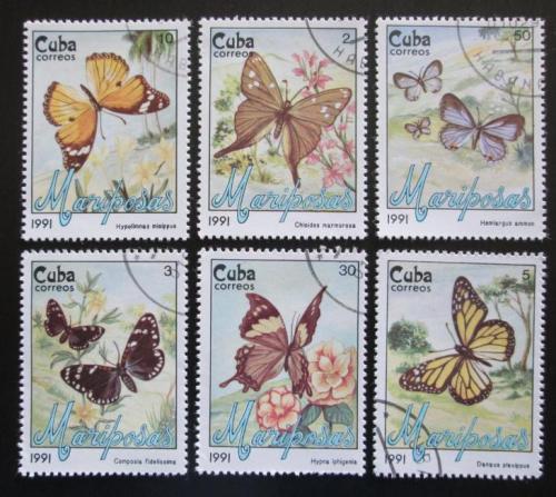 Poštovní známky Kuba 1991 Motýli Mi# 3452-57