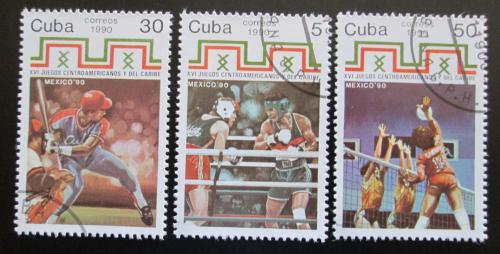 Poštovní známky Kuba 1990 Karibské hry Mi# 3449-51