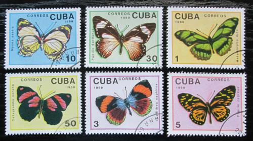 Poštovní známky Kuba 1989 Motýli Mi# 3265-70