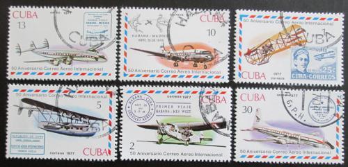 Poštovní známky Kuba 1977 Poštovní letadla Mi# 2248-53
