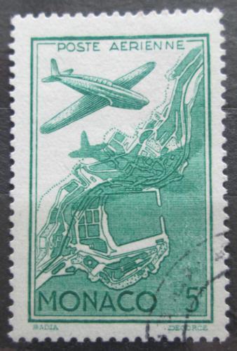 Poštovní známka Monako 1942 Letadlo a mapa Mi# 267