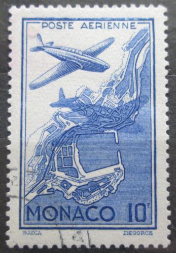 Poštovní známka Monako 1942 Letadlo a mapa Mi# 268