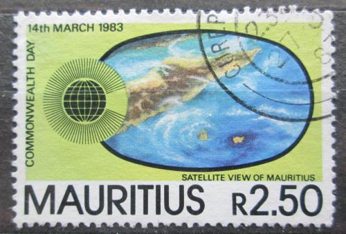 Poštovní známka Mauricius 1983 Satelitní snímek ostrova Mi# 555