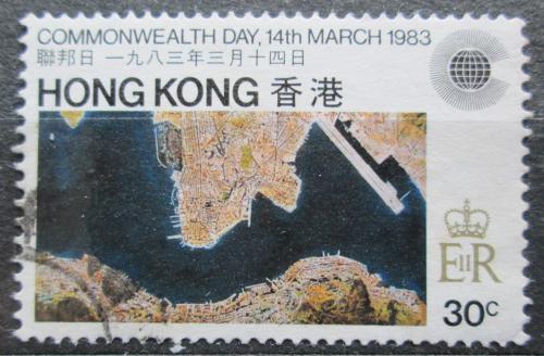Poštovní známka Hongkong 1983 Satelitní mapa Mi# 411