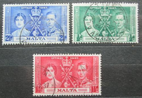 Poštovní známka Malta 1937 Královský pár Mi# 173-75