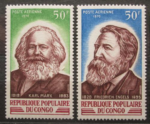 Poštovní známky Kongo 1970 Karel Marx a Bedøich Engels Mi# 255-56