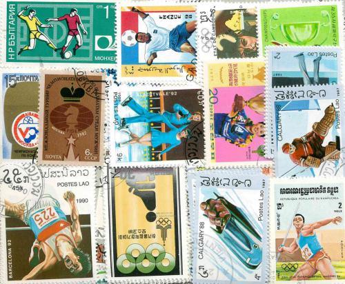 Sestava Sport - 100 rùzných razítkovaných známek