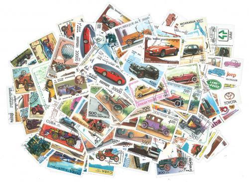 Sestava Automobily - 100 rùzných razítkovaných známek