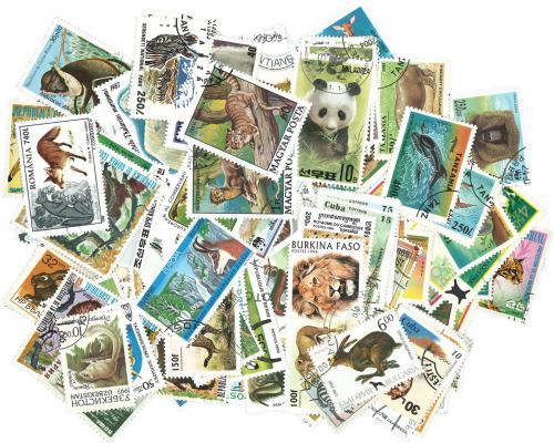 Sestava Divoká zvíøata - 100 rùzných razítkovaných známek