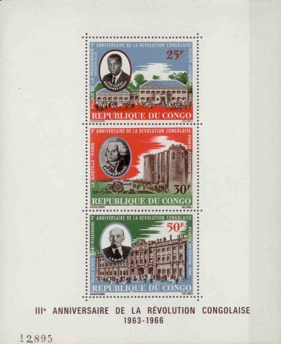 Poštovní známky Kongo 1966 Konžská revoluce, 3. výroèí Mi# Block 4