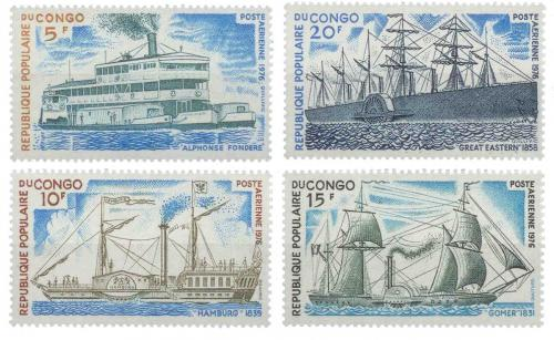 Poštovní známky Kongo 1976 Lodì Mi# 514-17
