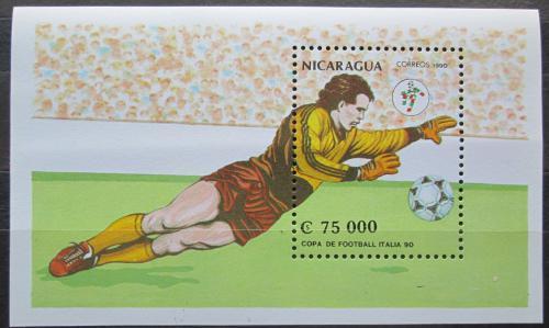 Poštovní známka Nikaragua 1990 MS ve fotbale Mi# Block 190 Kat 5€