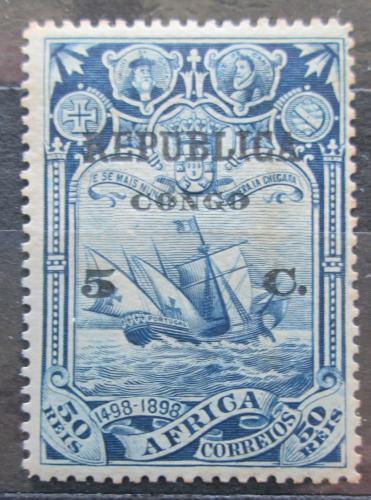 Poštovní známka Portugalské Kongo 1913 Plachetnice pøetisk Mi# 87
