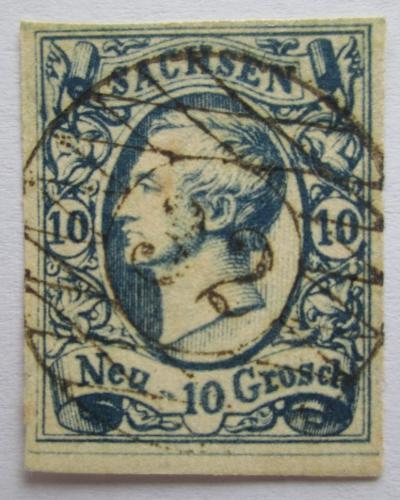 Poštovní známka Sasko 1856 Král Jan I. Saský VELKÁ RARITA Mi# 13 Kat 300€