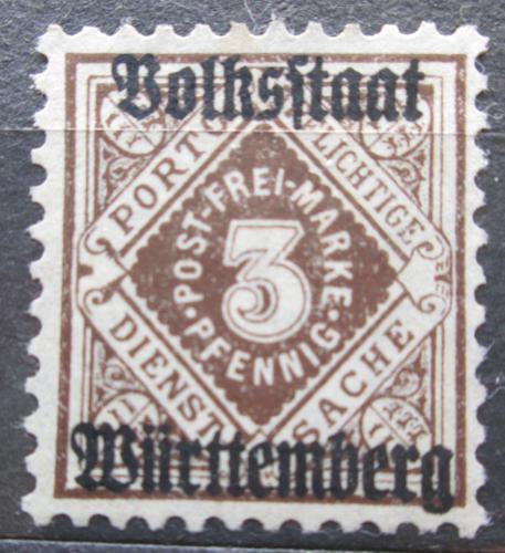 Poštovní známka Württembersko 1919 Nominální hodnota, úøední Mi# 135 Kat 13€