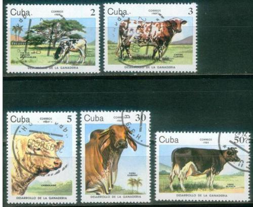 Poštovní známky Kuba 1984 Krávy Mi# 2880-84