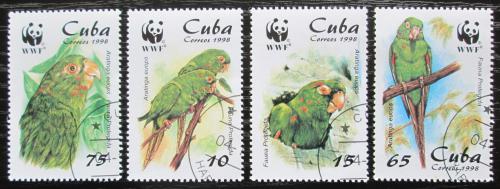Poštovní známky Kuba 1998 Papoušci, WWF Mi# 4156-59