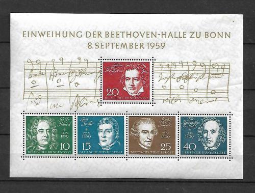 Poštovní známky Nìmecko 1959 Skladatelé Mi# Block 2 Kat 25€