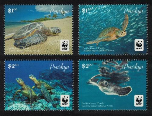 Poštovní známky Penrhyn 2014 Kareta obrovská japonská, WWF Mi# 761-64 Kat 12.50€