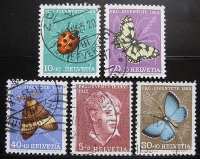 Poštovní známky Švýcarsko 1952 Hmyz Mi# 575-79 Kat 20€